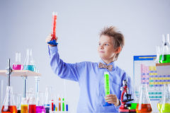 Handsome school boy posing with test-tubes in lab Stock Photo