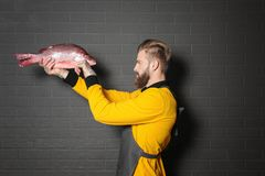 Handsome seller holding fresh fish. On gray wall background Royalty Free Stock Photo