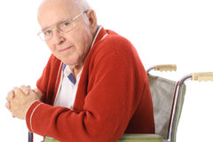 Handsome senior citizen in wheelchair Royalty Free Stock Images