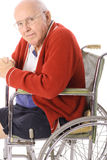 Handsome senior citizen in wheelchair vertical Royalty Free Stock Photo