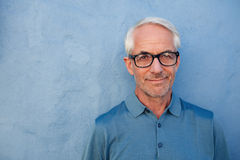 Handsome senior man with glasses looking at camera Royalty Free Stock Images