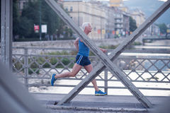 Handsome senior man  jogging Royalty Free Stock Images