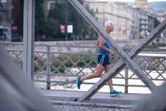 Handsome senior man  jogging Royalty Free Stock Images