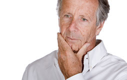 Handsome Senior Man Looking Pensive Royalty Free Stock Photos