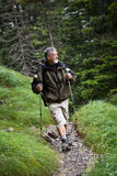 Handsome senior man nordic walking Stock Photos