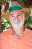 Handsome Senior Man in Straw Hat Royalty Free Stock Photo