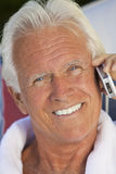 Handsome Senior Man Talking on Cell Phone Royalty Free Stock Photo