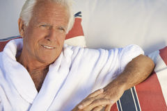 Handsome Senior Man In White Spa Bathrobe Royalty Free Stock Photography
