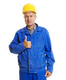 Handsome senior worker showing thumbs up Royalty Free Stock Images