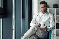 Handsome businessman in office. Handsome serious businessman is holding a cup and looking at camera while sitting in the chair in office Royalty Free Stock Photography