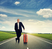 Handsome serious businessman with suitcase Royalty Free Stock Photography