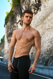 Handsome Sexy Fitness Man With Muscular Body Outdoors In Summer. Royalty Free Stock Images