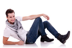 Handsome man lying and possing Stock Photo
