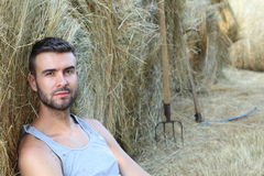 Handsome sexy young cowboy next to farming tools sitting on hay with copy space.  Stock Photography