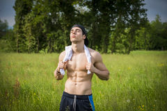 Handsome shirtless fit young man at countryside Stock Image
