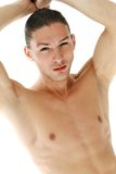 Handsome shirtless man Stock Images
