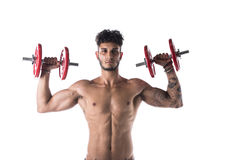 Handsome shirtless muscular young man exercises with dumbbells Stock Photo