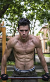 Handsome shirtless young man exercising in outdoor gym in park Royalty Free Stock Photo