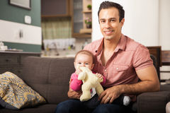 Handsome single father and his baby girl Stock Photography