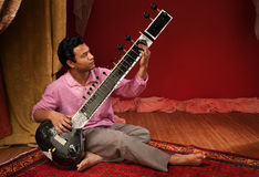 Handsome Sitar Player Stock Images