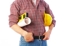 Handsome skilful woodworker Stock Photography