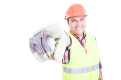 Handsome smiling builder pointing finger at you Stock Photo