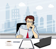 Handsome smiling businessman calling by phone in t. Handsome smiling Businessman Calling Vector illustration Vector Illustration