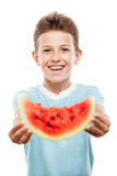 Handsome smiling child boy holding red watermelon fruit slice. Handsome smiling child boy hand holding red ripe watermelon fruit food slice white isolated Stock Images