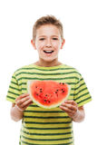 Handsome smiling child boy holding red watermelon fruit slice royalty free stock images