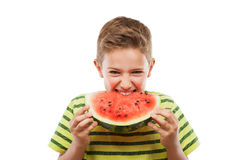 Handsome smiling child boy holding red watermelon fruit slice. Handsome smiling child boy hand holding red ripe watermelon fruit food slice white isolated Stock Image