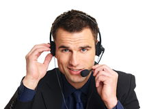 Handsome smiling customer service operator Stock Images
