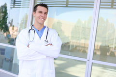 Handsome Smiling Doctor at Hospital Stock Images