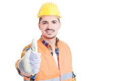Handsome smiling engineer showing thumb up or like gesture Royalty Free Stock Photos