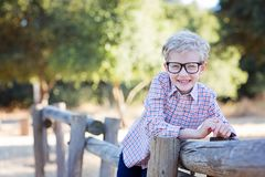 Back to school. Handsome smiling little boy in glasses ready for school, back to school concept Stock Images