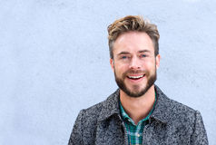 Handsome smiling man with beard. Close up portrait handsome smiling man with beard Royalty Free Stock Image