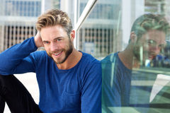 Handsome smiling man with beard Stock Photo