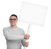 Handsome smiling man holding blank placard Stock Photos