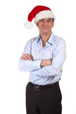 Handsome Smiling Man in Santa Hat Royalty Free Stock Image