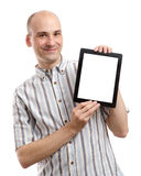 Handsome smiling man with tablet computer Stock Photography