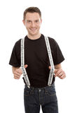 Handsome smiling musician with suspenders Royalty Free Stock Photo