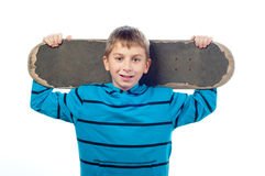 Handsome smiling teenage boy with skateboard Royalty Free Stock Photos