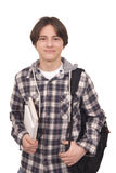 Handsome smiling teenager with bag pack and books. On white background stock photo
