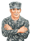 Handsome Soldier. An illustration of a happy smiling soldier in camouflage uniform with his arms folded vector illustration