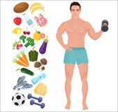 Handsome sport Health man. Lifestyle infographic vector illustration with icons. Stock Photos