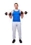 Handsome sports man lifting dumbbell Royalty Free Stock Photo