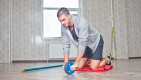 Handsome sportsman workout royalty free stock photography