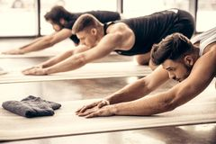 Handsome sportsmen simultaneously stretching backs. In gym royalty free stock photography