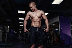 Handsome strong athletic man pumping up muscles with dumbbells. Muscular bodybuilder with naked sport torso doing exercise in gym royalty free stock images