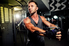 Handsome strong bodybuilder pushing up excercise in gym Royalty Free Stock Image