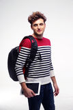 Handsome student with backpack Royalty Free Stock Image